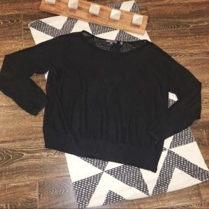 Vince Black Linen Sweater with Ribbed Hem